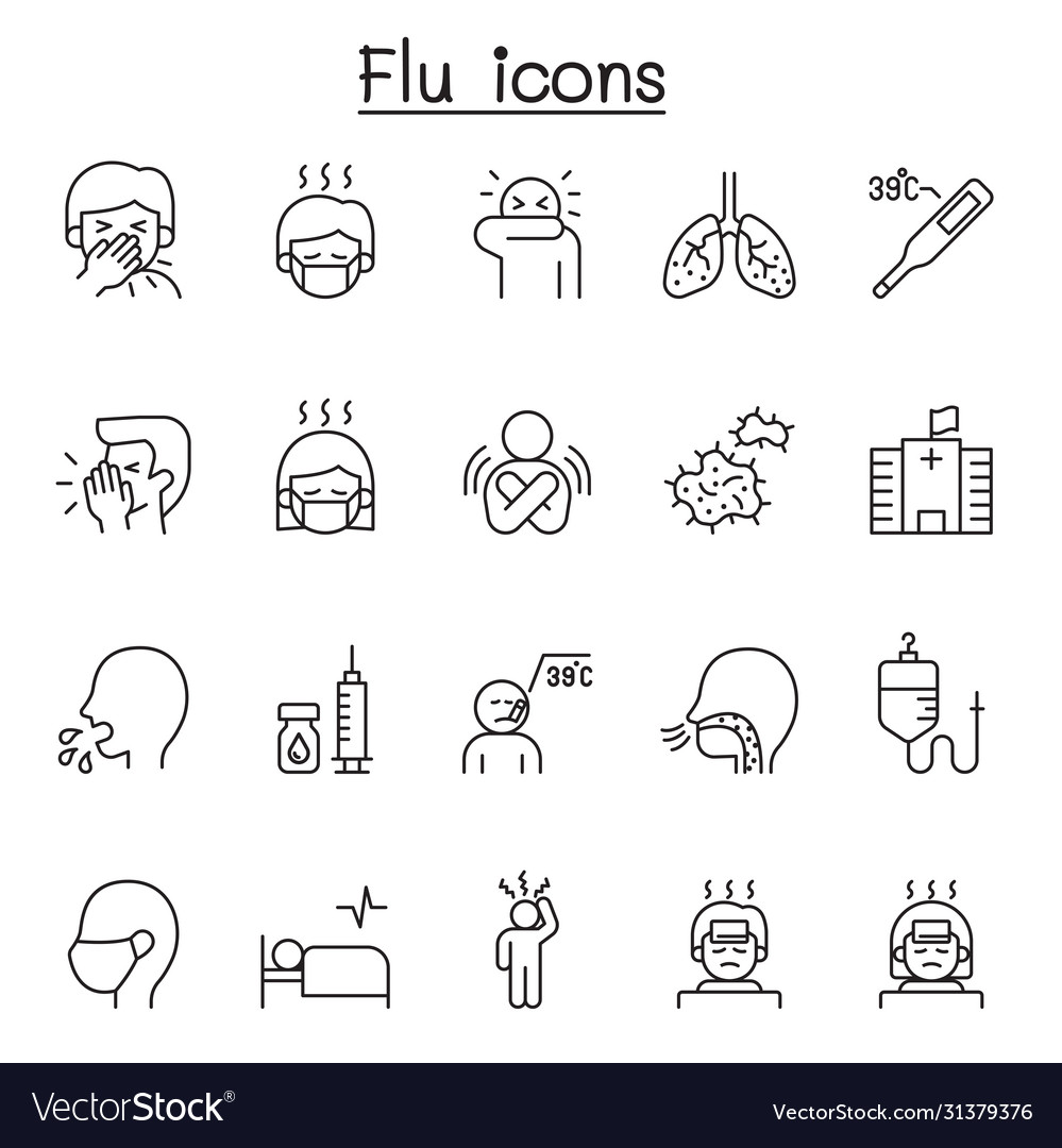 Flu sick illness icons set in thin line style