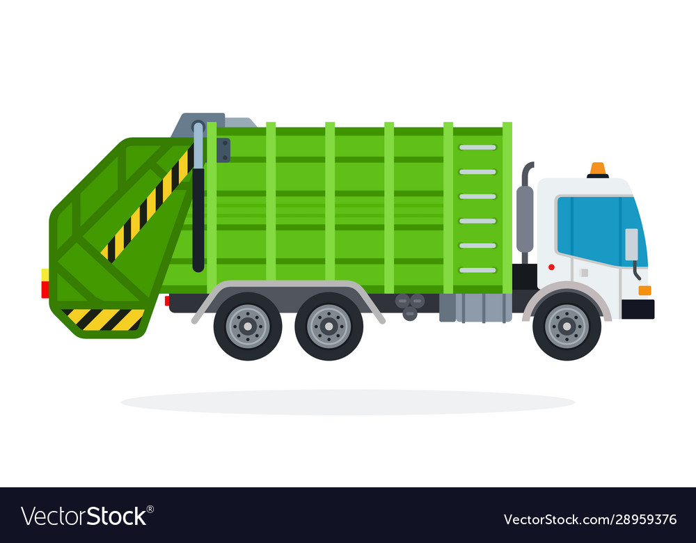 Garbage truck flat isolated