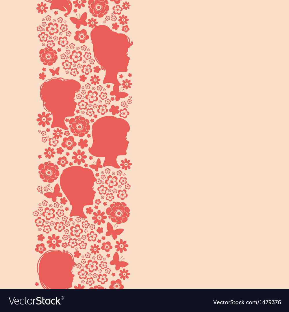Girls silhouettes among flowers vertical seamless