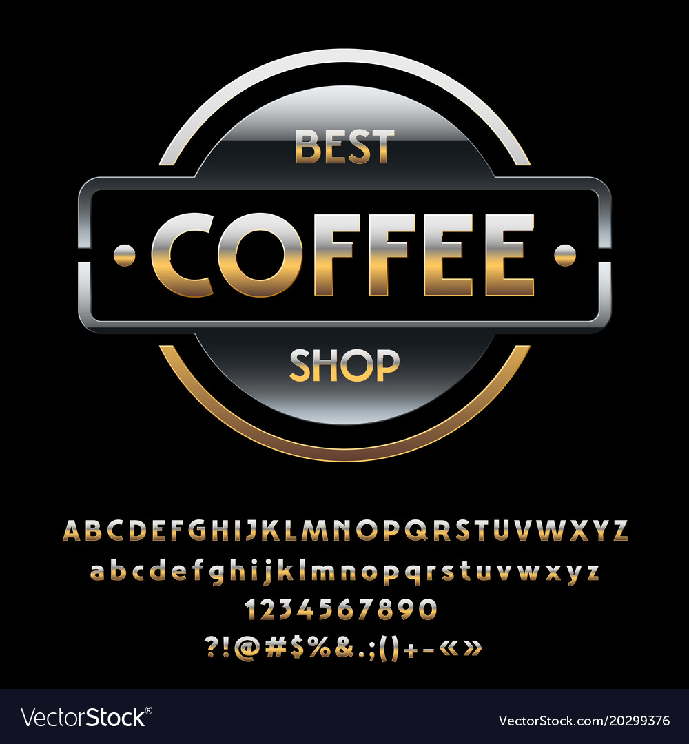 Glossy silver and golden logotype best coff vector image