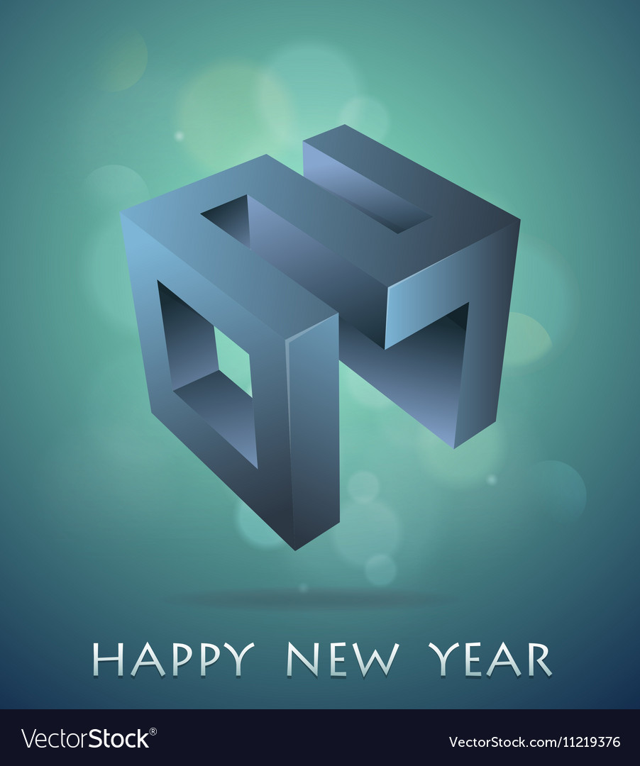 Greeting card for year 2017 with 3D emblem