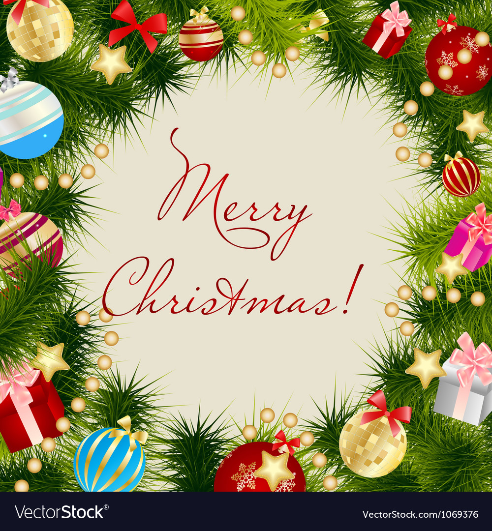Merry Christmas Card Frame Royalty Free Vector Image