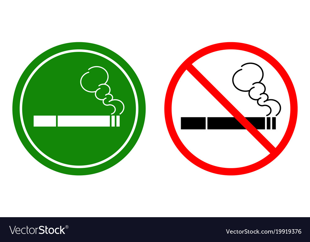 non smoking signs and a smoking area royalty free vector
