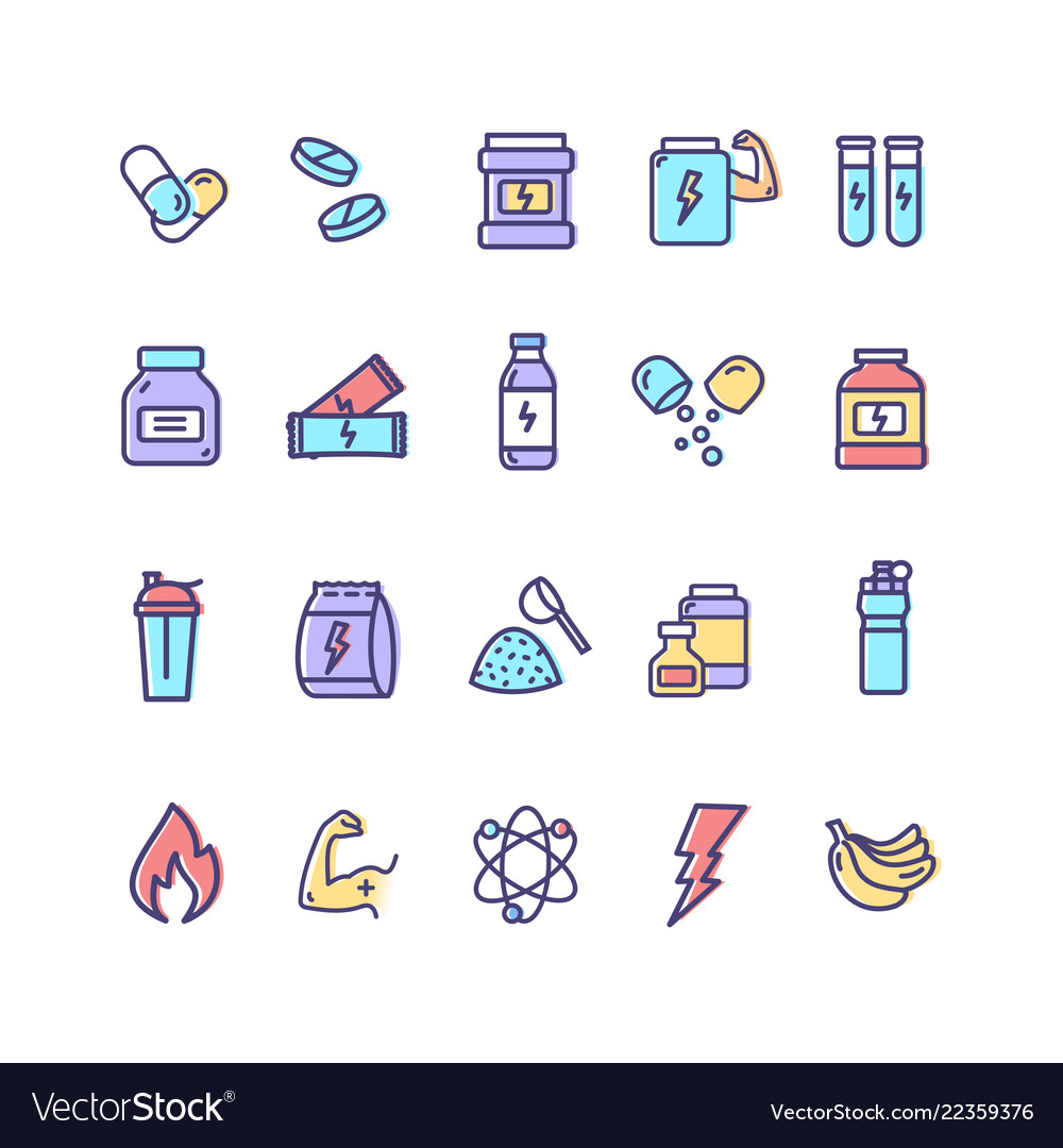 Nutrition signs color thin line icon set
