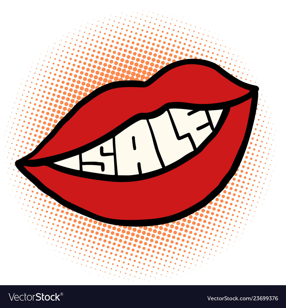 Pop Art Mouth Sale Royalty Free Vector Image Vectorstock