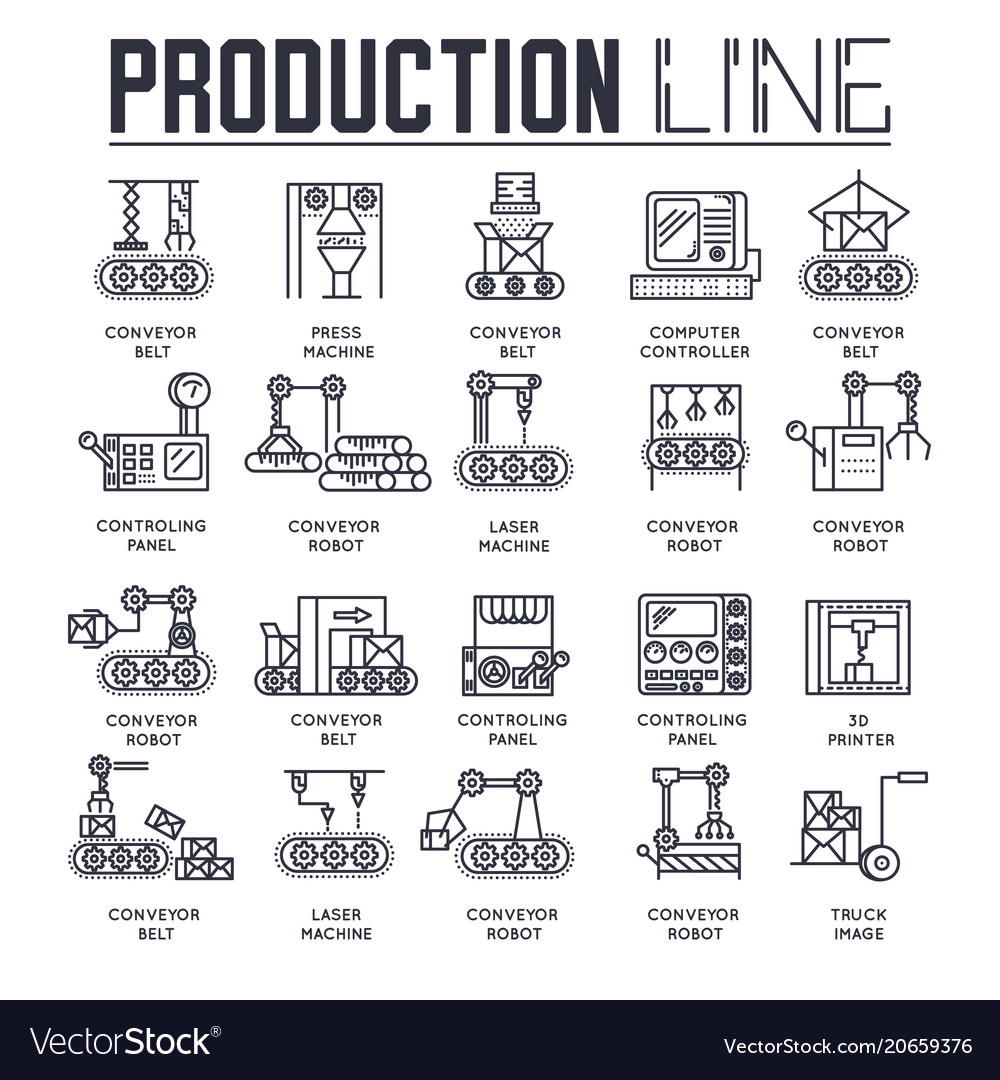 Production outline icons collection set industry