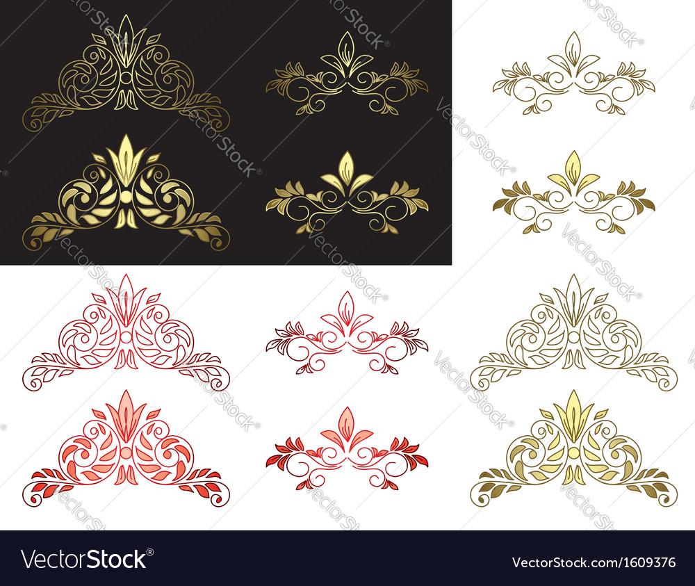 Set of floral golden and red design elements