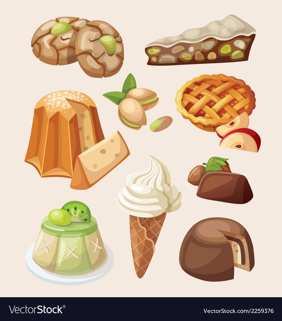 Set of italian desserts
