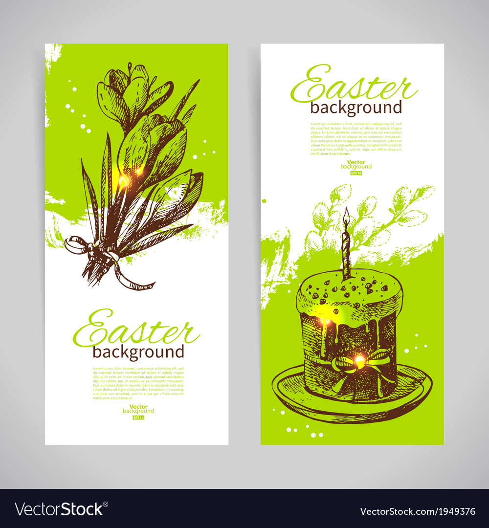 Set of vintage Easter banners with hand drawn