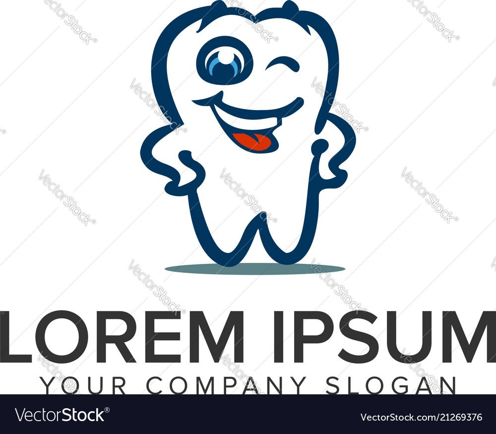 Smile dental cartoon logo design concept template