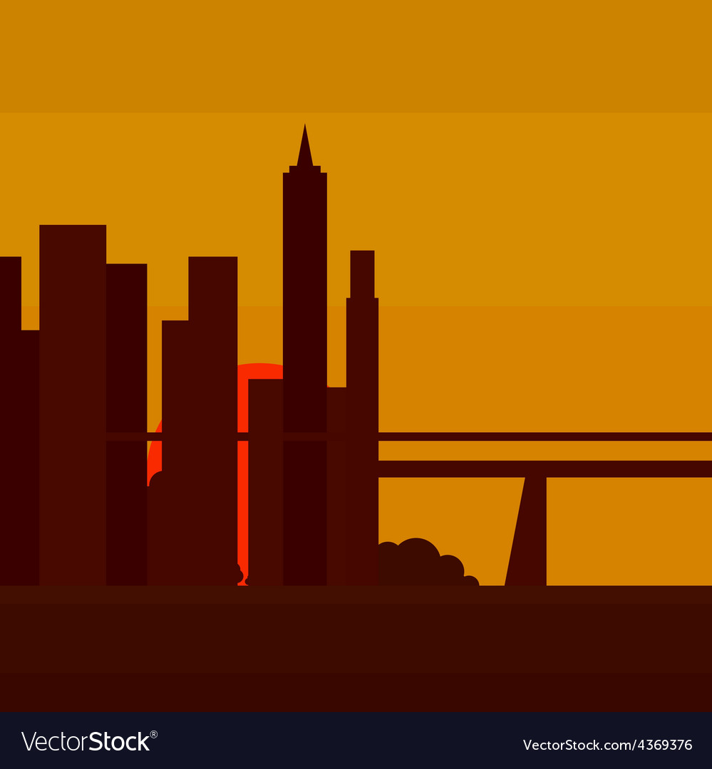 Sunset in New York into a flat