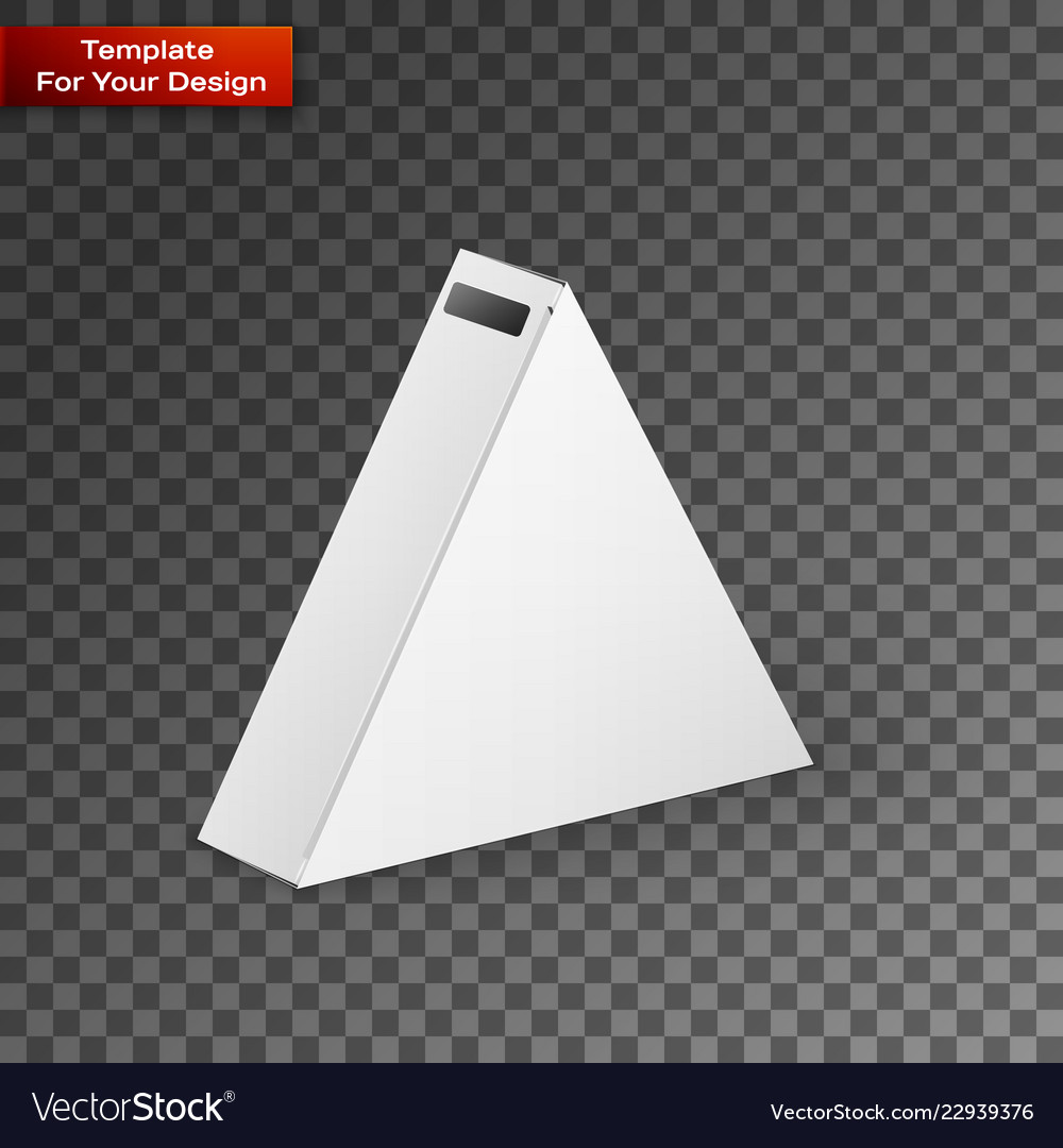 White product triangle package box mock up