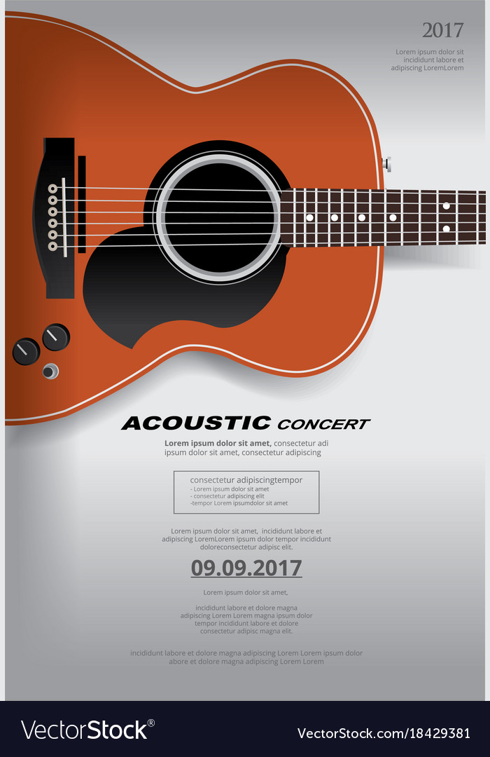 Acoustic guitar concert poster background template
