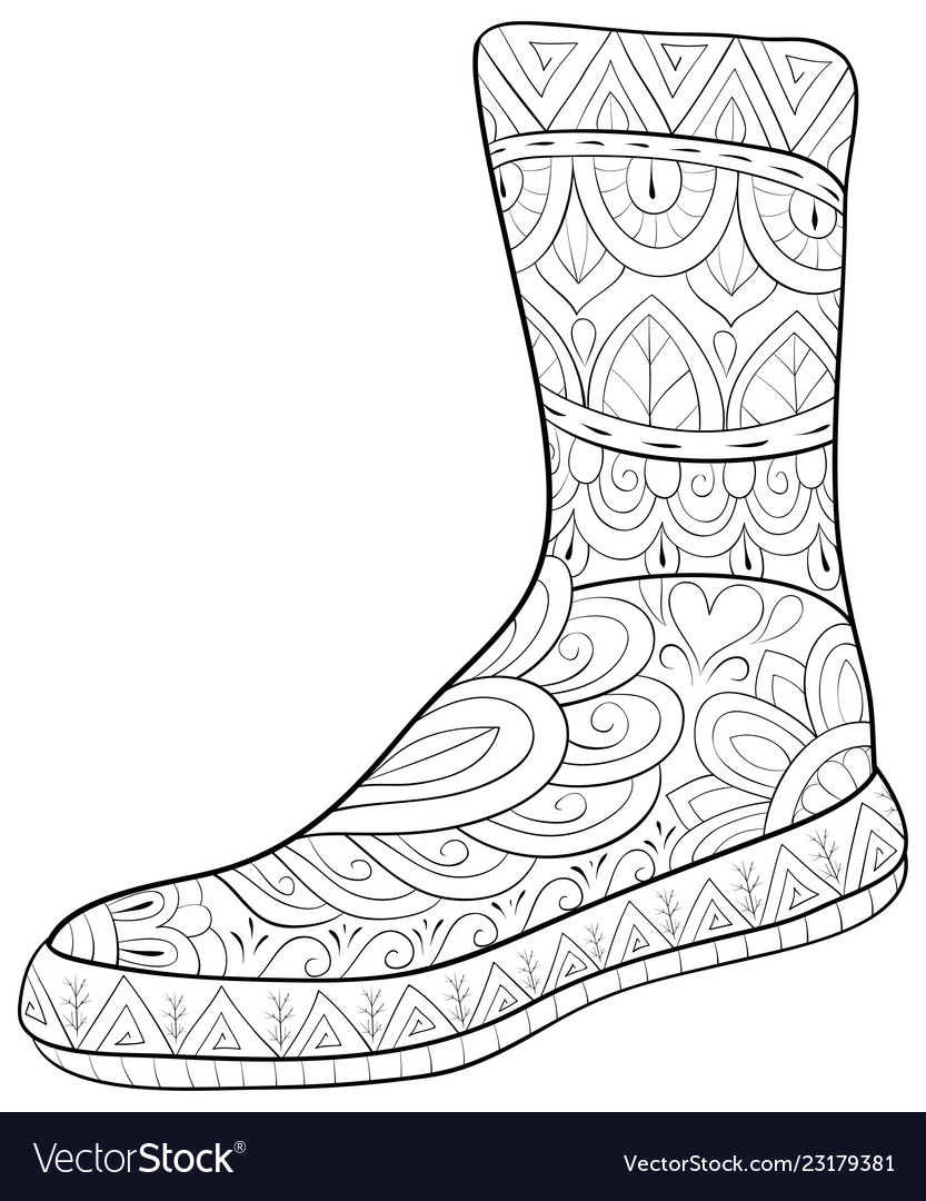 Christmas Boots Drawing.Adult Coloring Bookpage A Christmas Boot Image