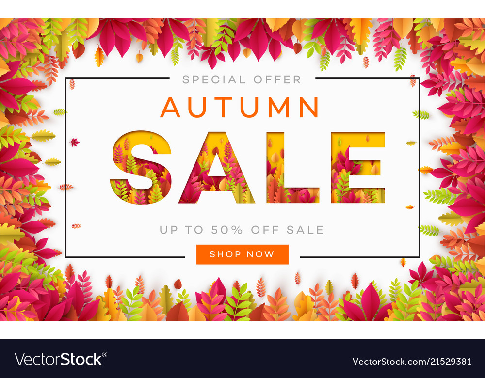 Banner for autumn sale in frame from leaves