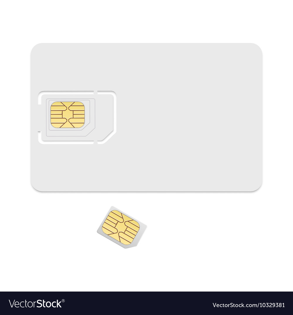Blank sim card template Realistic icon
