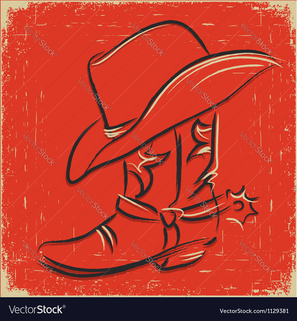 Cowboy boot and western hat Sketch foe design