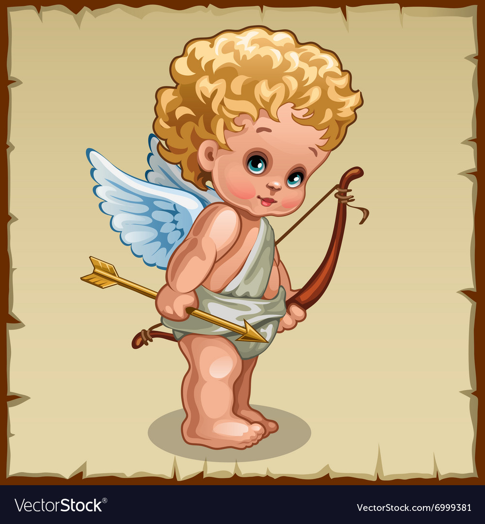 Cute boy Cupid with bow on a parchment background