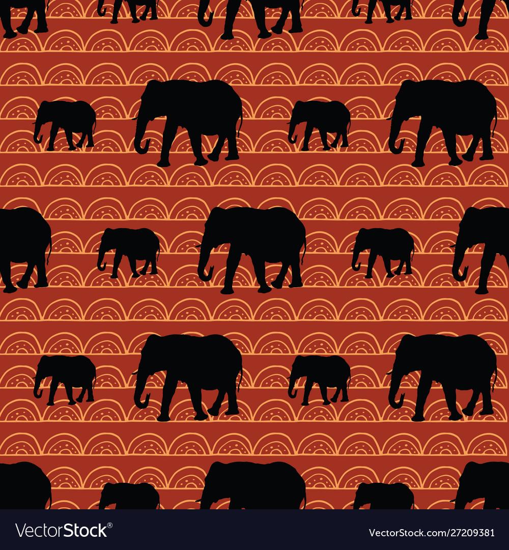 Cute seamless elephants pattern with geometric