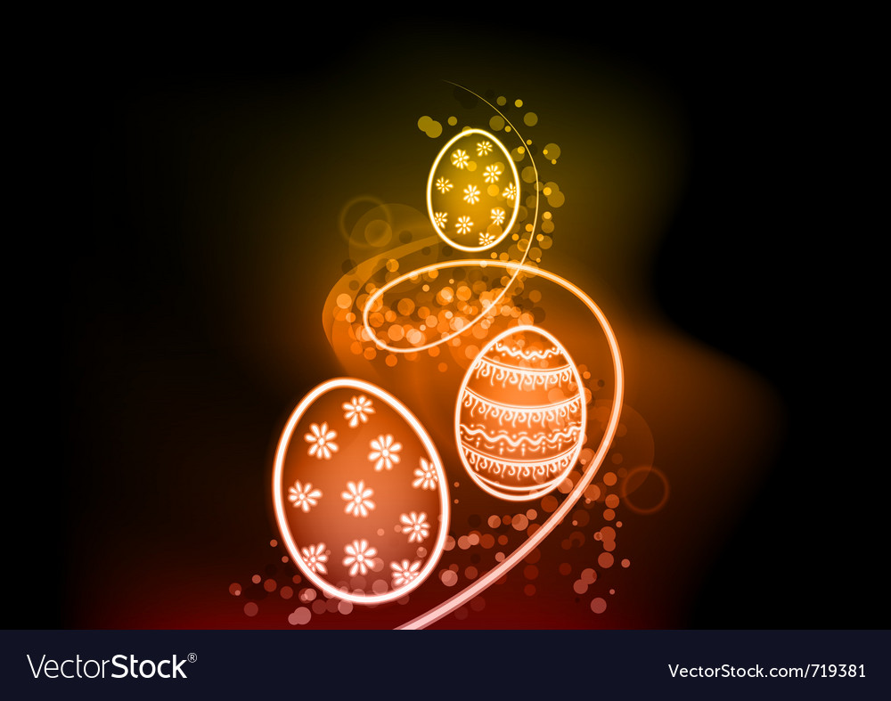 Easter eggs on the shine background vector image