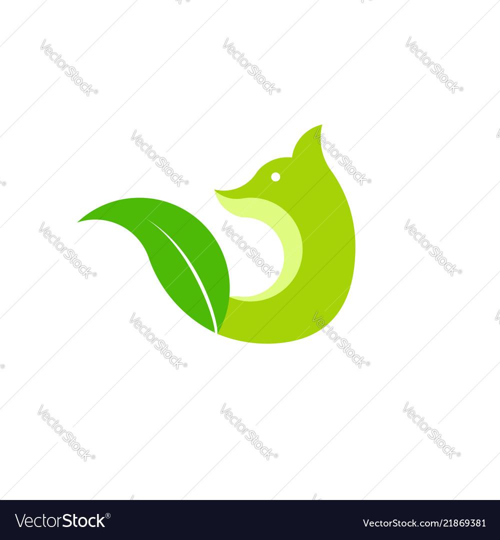 Fox and leaf green logo