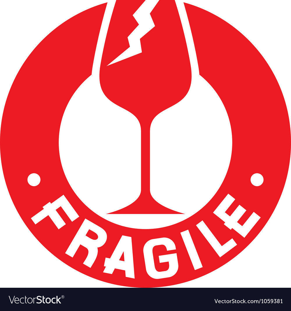 Fragile stamp - Fragile symbol