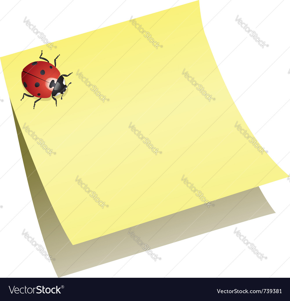 Ladybird on paper note