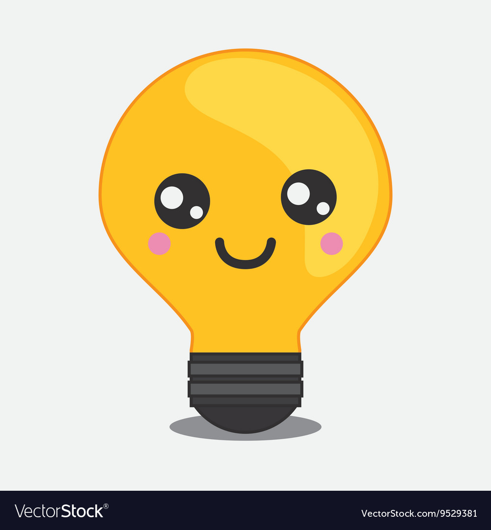 Light bulb icon Kawaii and technology