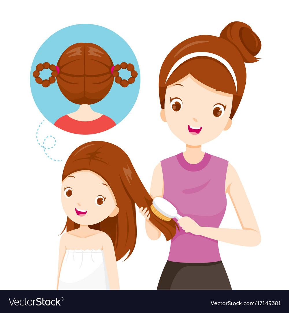 Mother Brushing Daughter Hair Royalty Free Vector Image