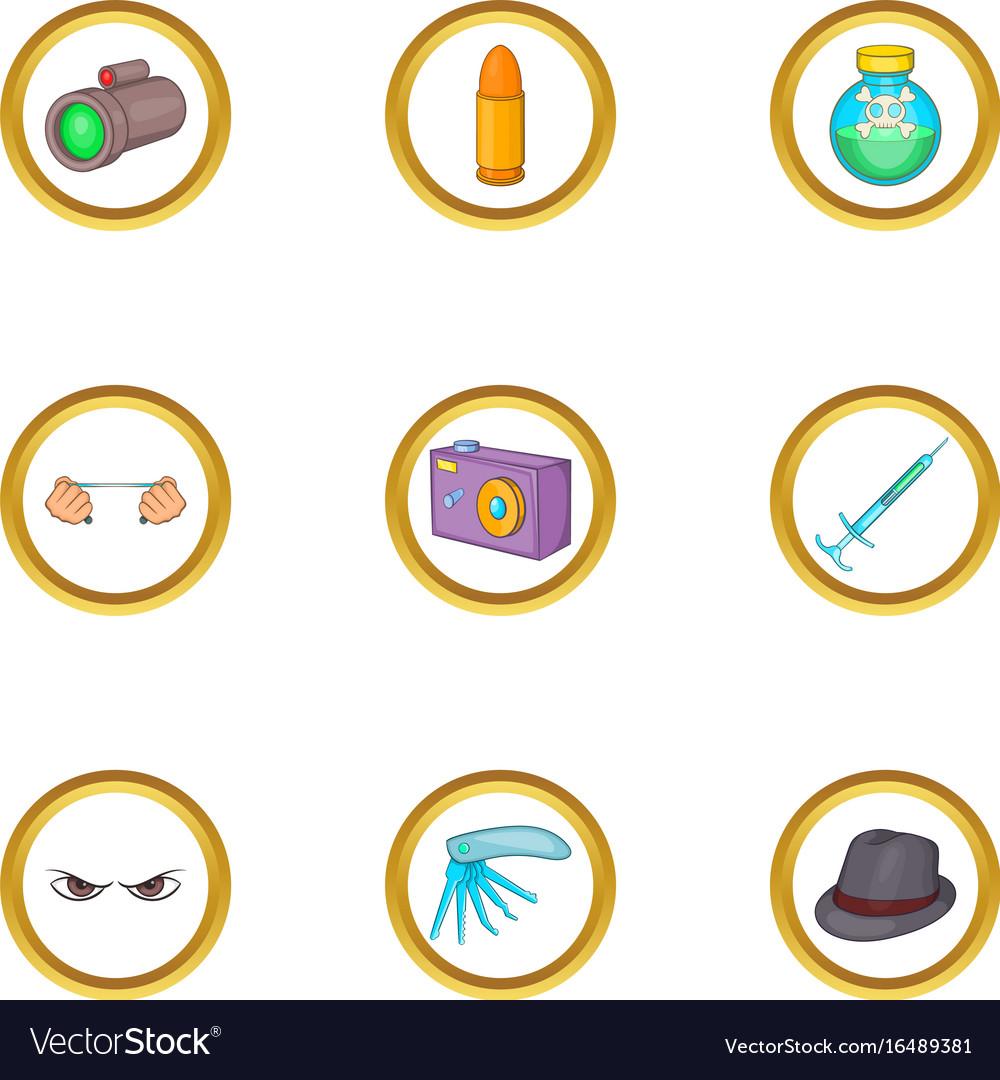 Murder equipment icons set cartoon style vector image