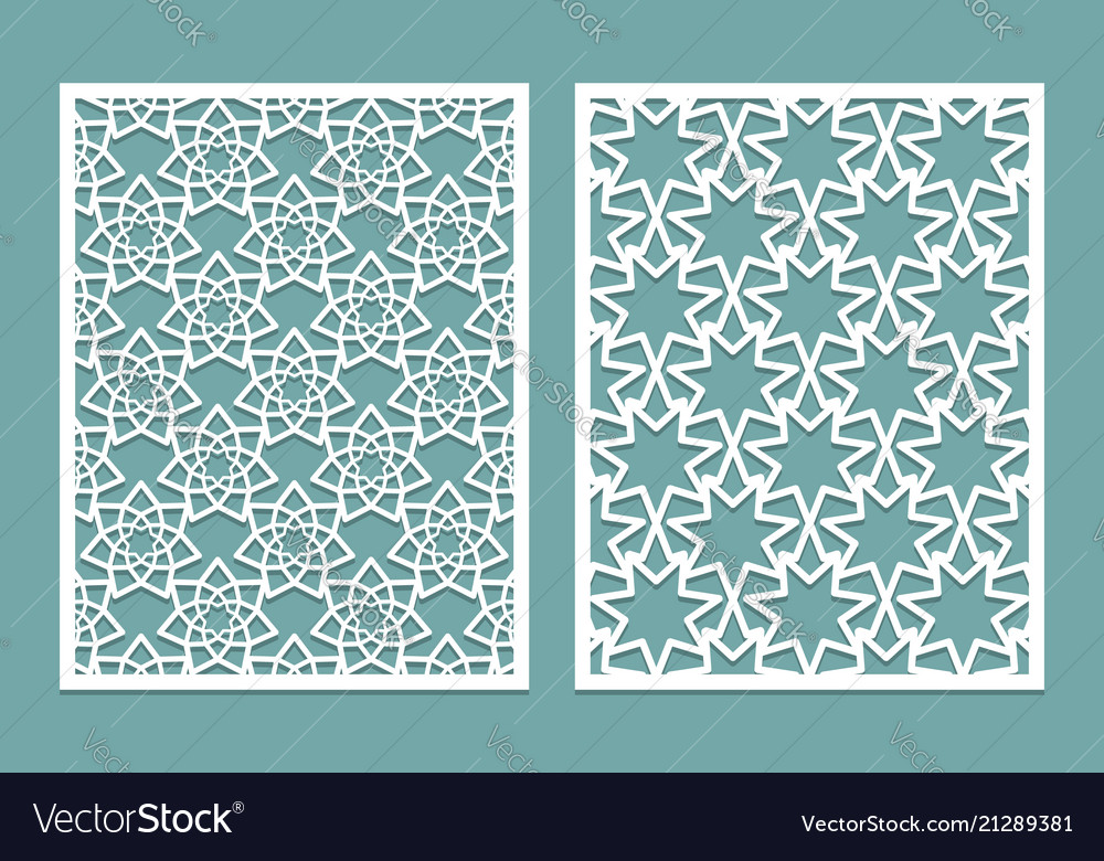 Set of die laser cut panel design with seven