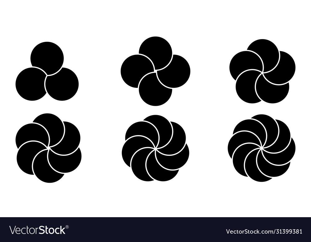 Set round infographic elements flower