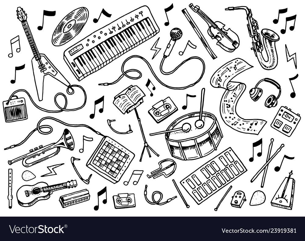 Simple set of music related line icons