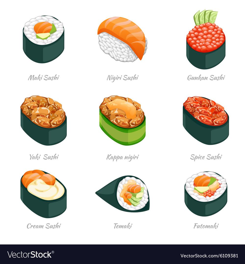 Sushi rolls icons