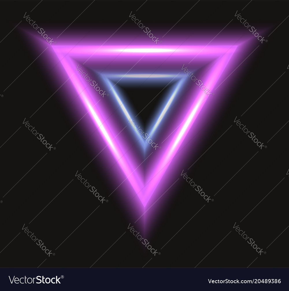 Abstract frame with neon triangle on black