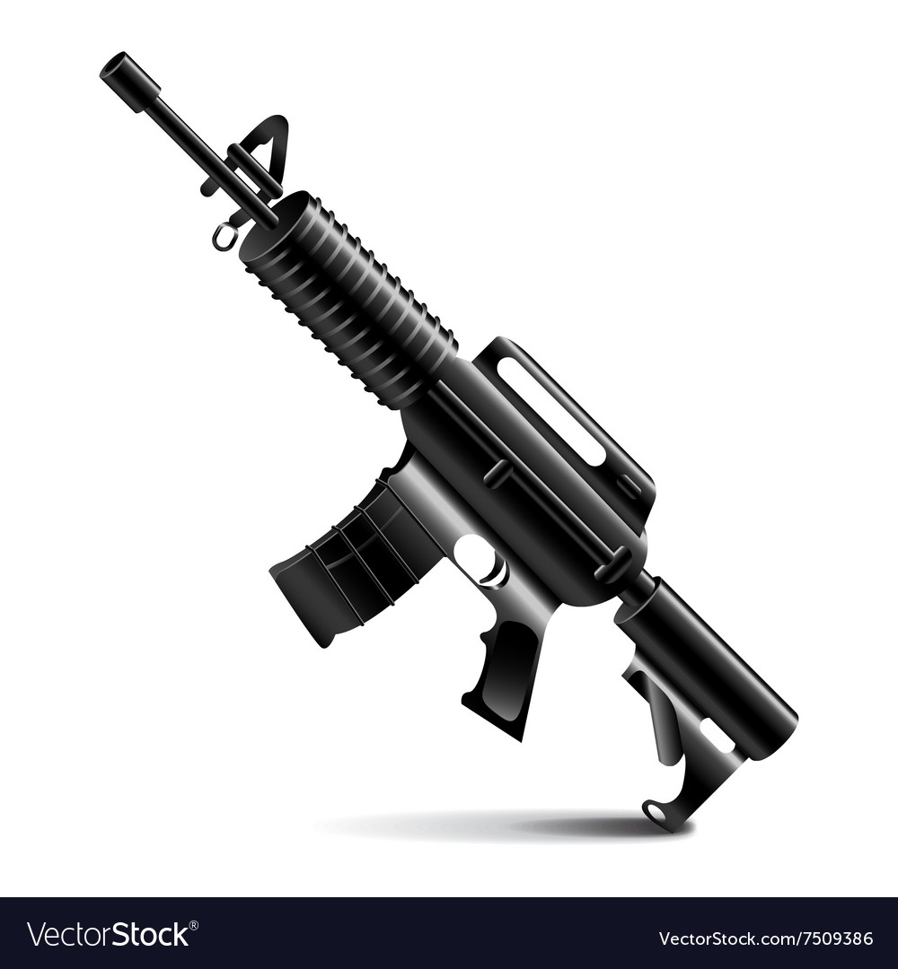 Automatic weapon isolated on white