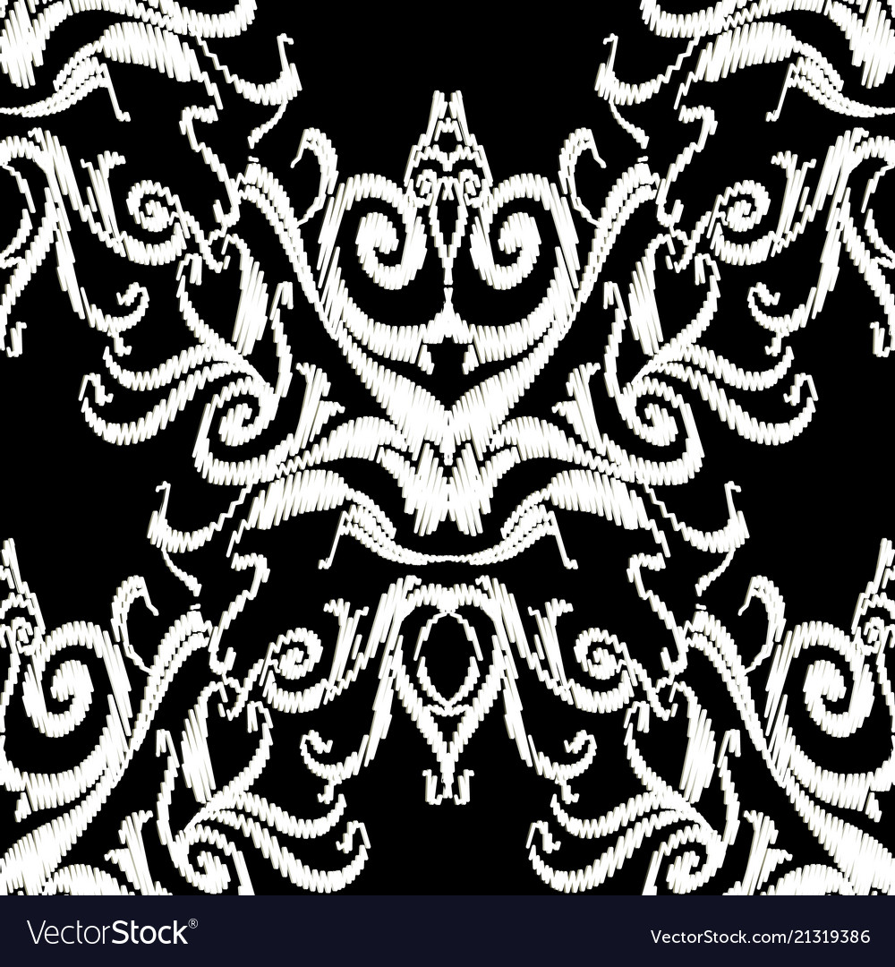 Black and white embroidery damask seamless