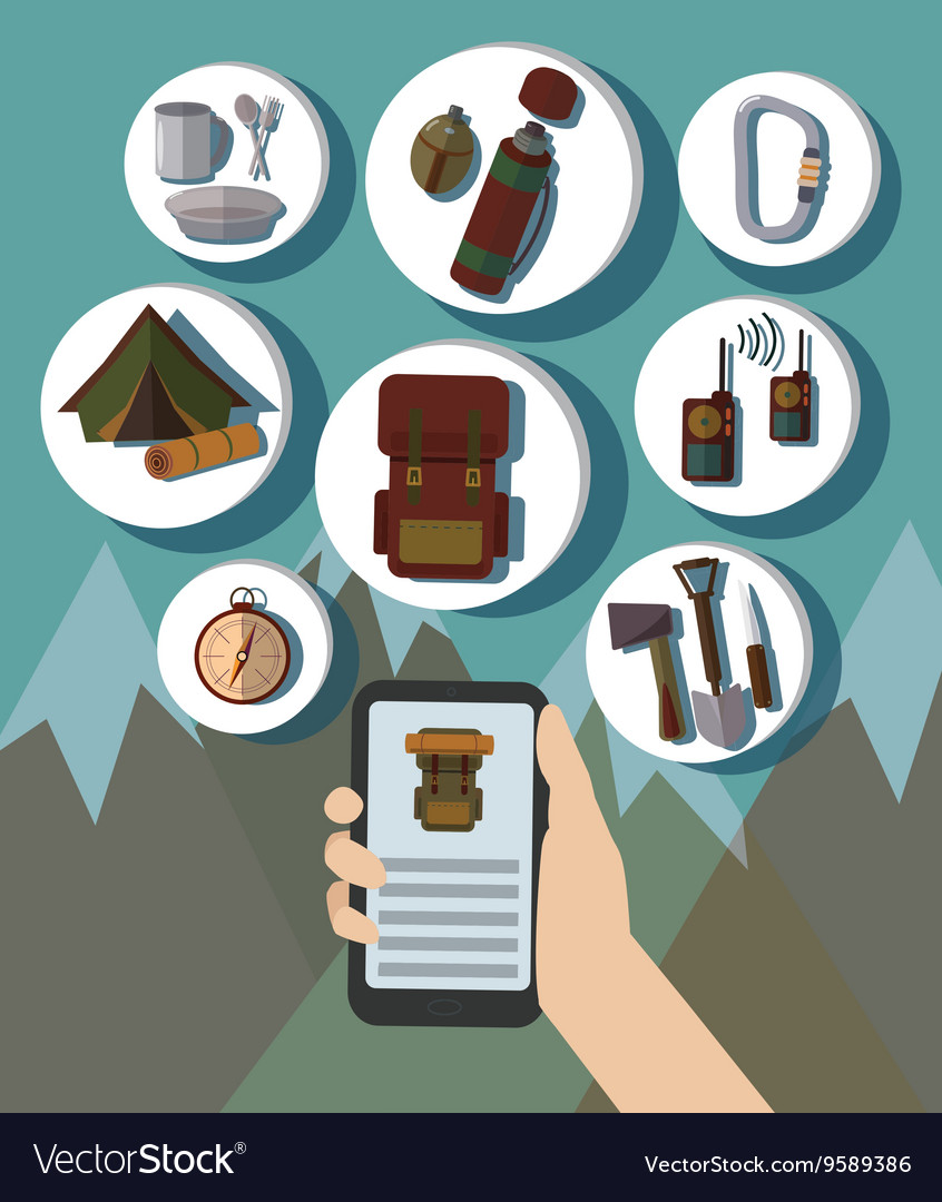 Hand and Mobile Phone Online Booking Icons Hotel