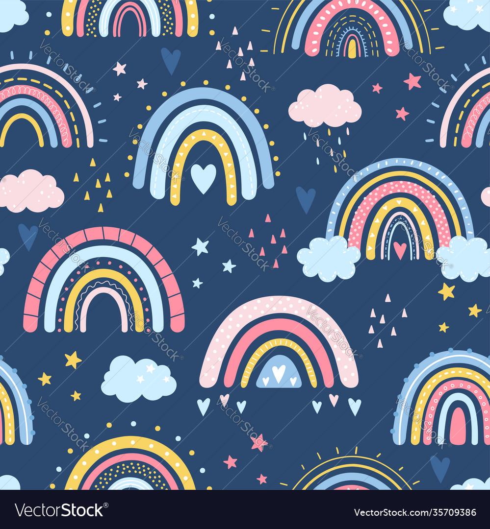 Hand drawn rainbow in cartoon scandinavian