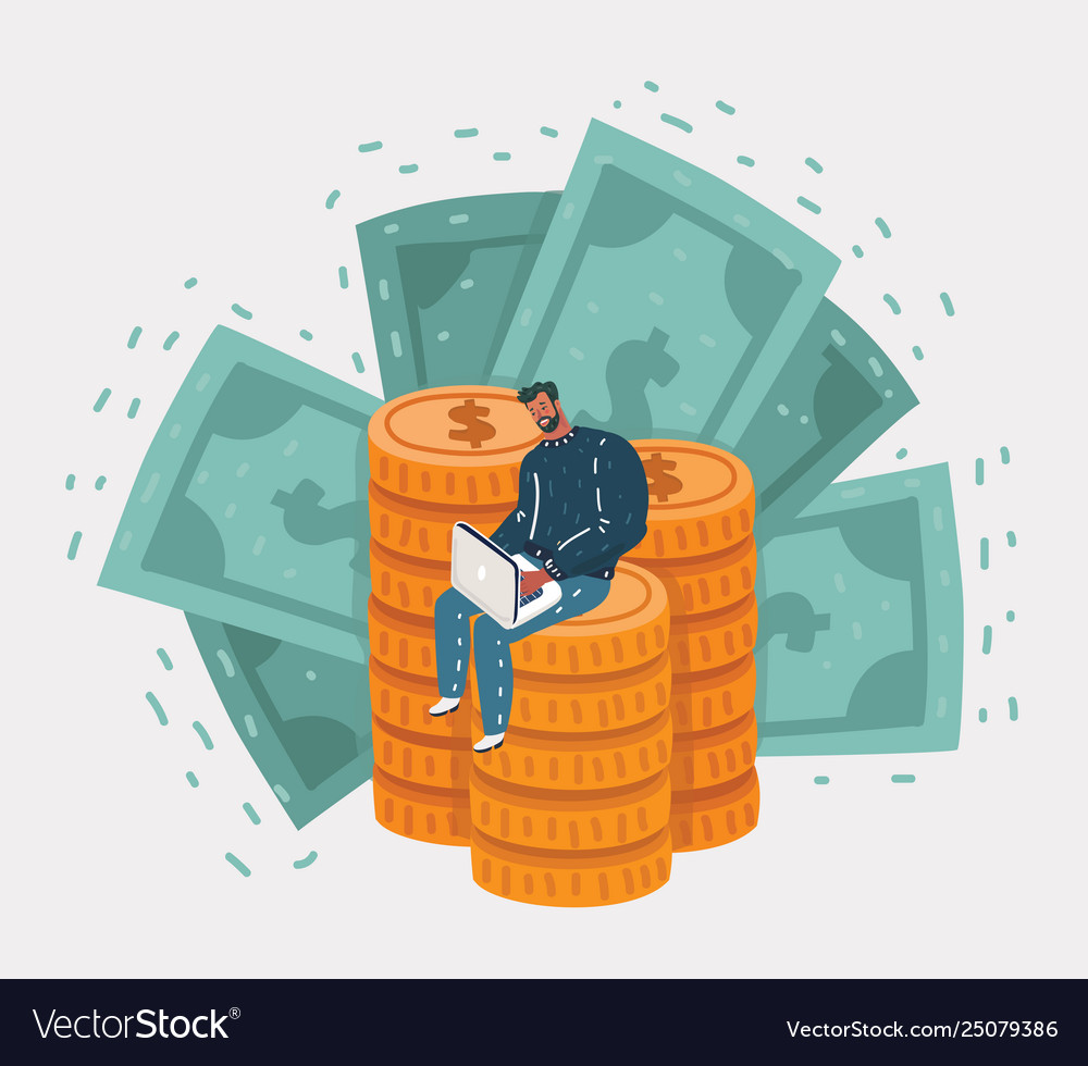 Happy businessman sitting on coins