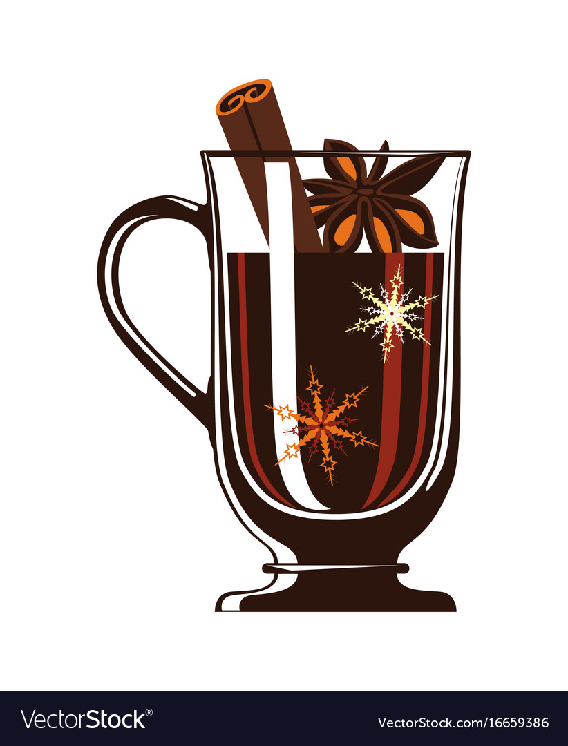Mulled wine in glass isolated icon
