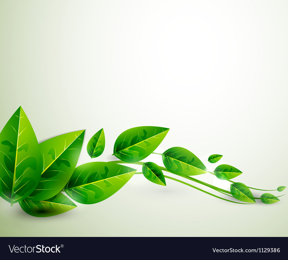 Nature green leaves flying leaves abstract vector image