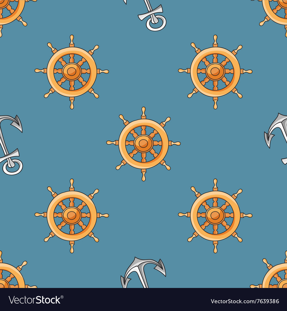 Nautical or marine themed seamless pattern with