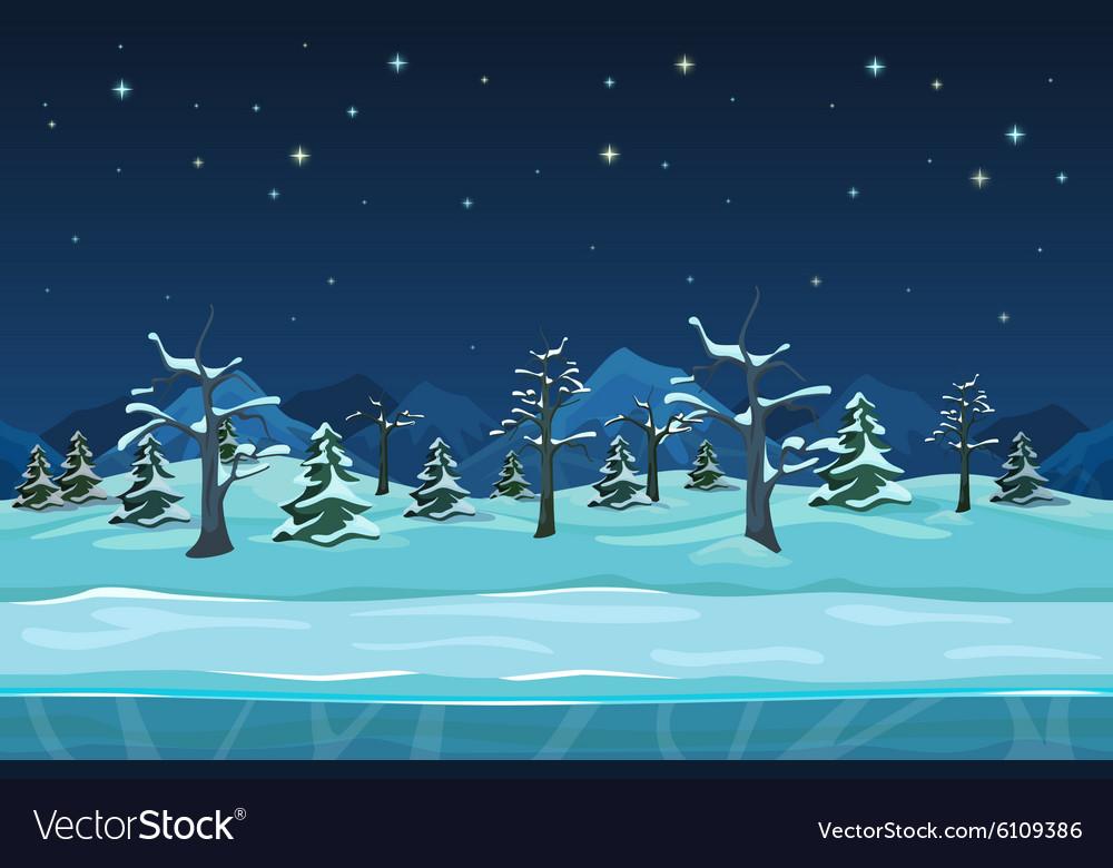 Seamless cartoon winter night landscape