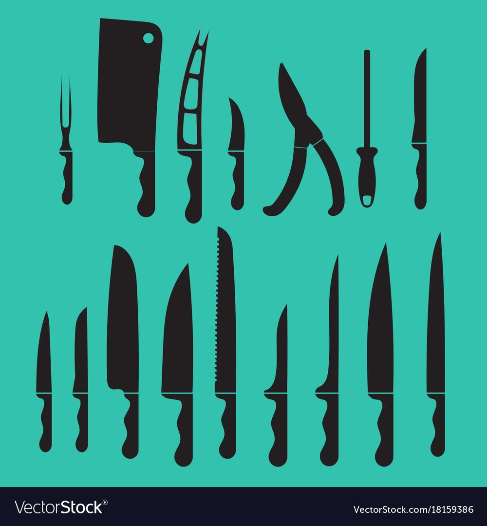Set kitchen knives shadow black Royalty Free Vector Image