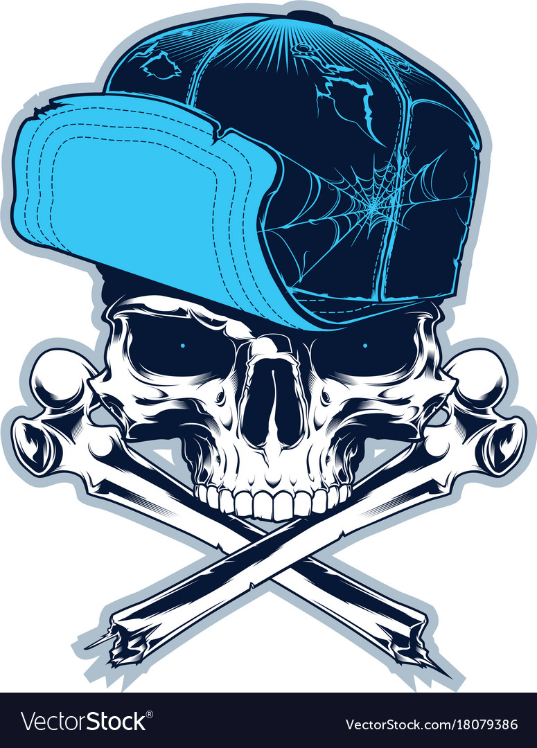 Skull with cross bones and cap