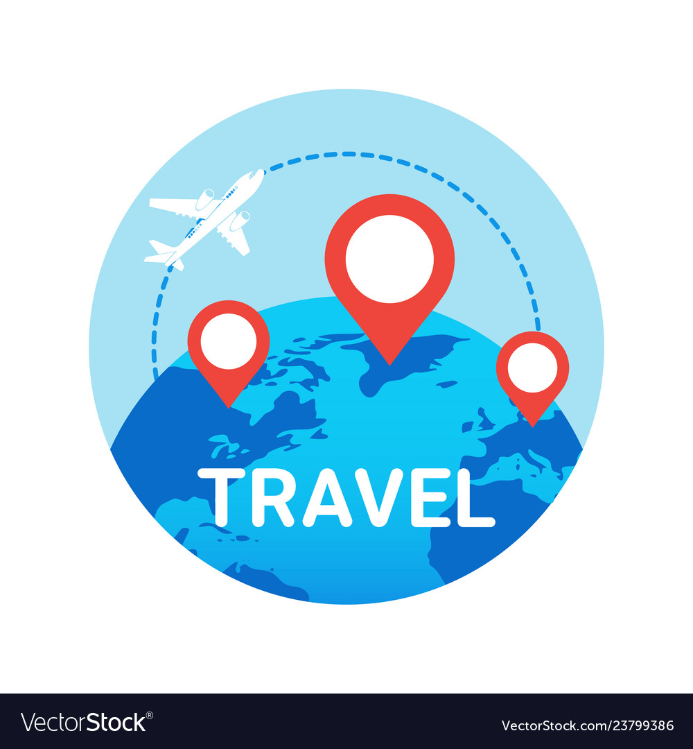 Travel icon isolated plane fly over world globe