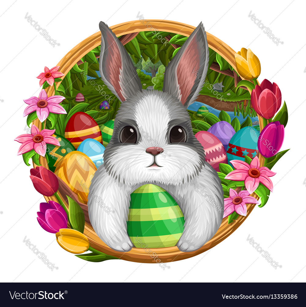 White bunny in frame with eggs and flowers