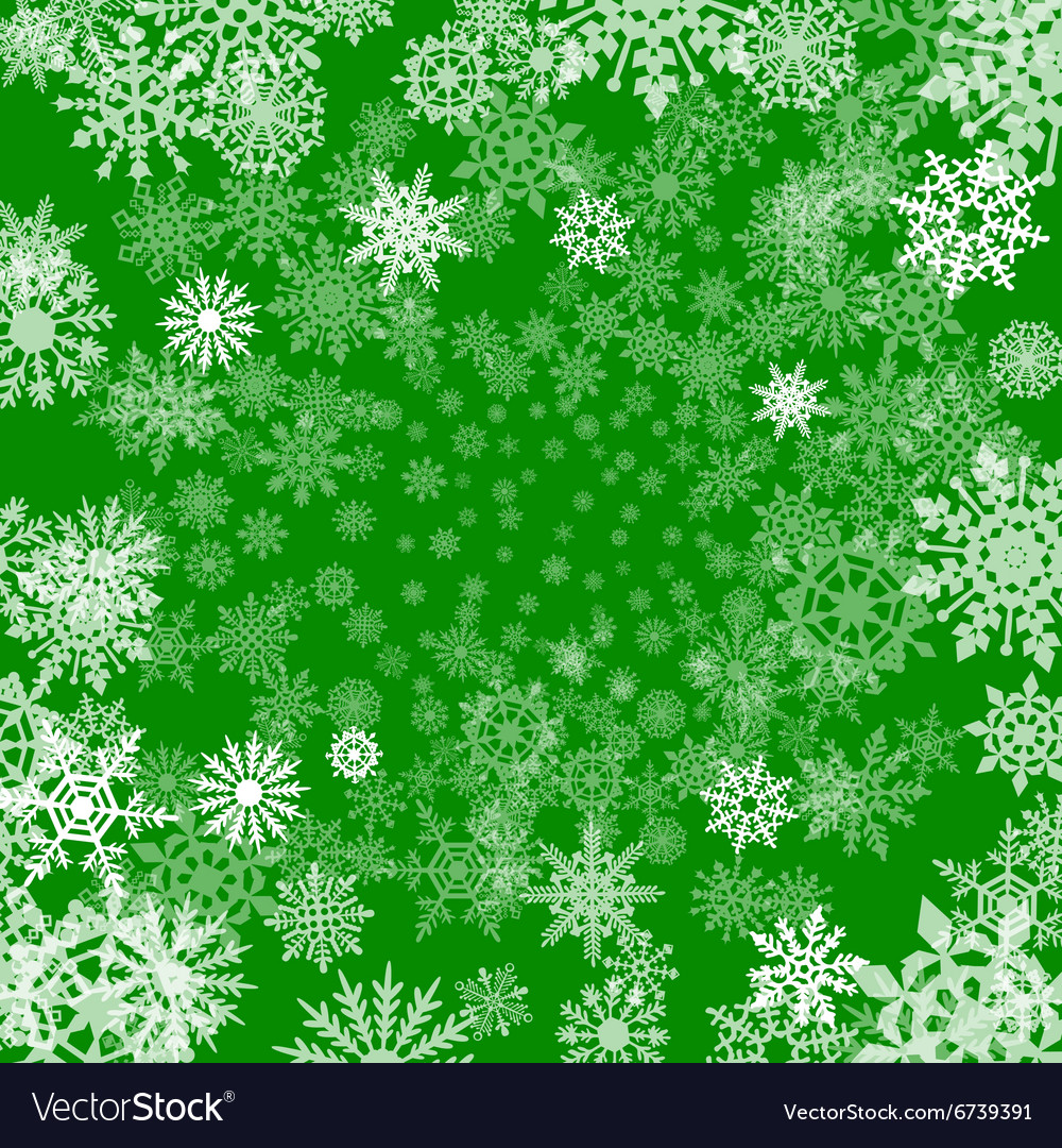 Christmas Colors.Christmas Background Of Snowflakes In Green Colors