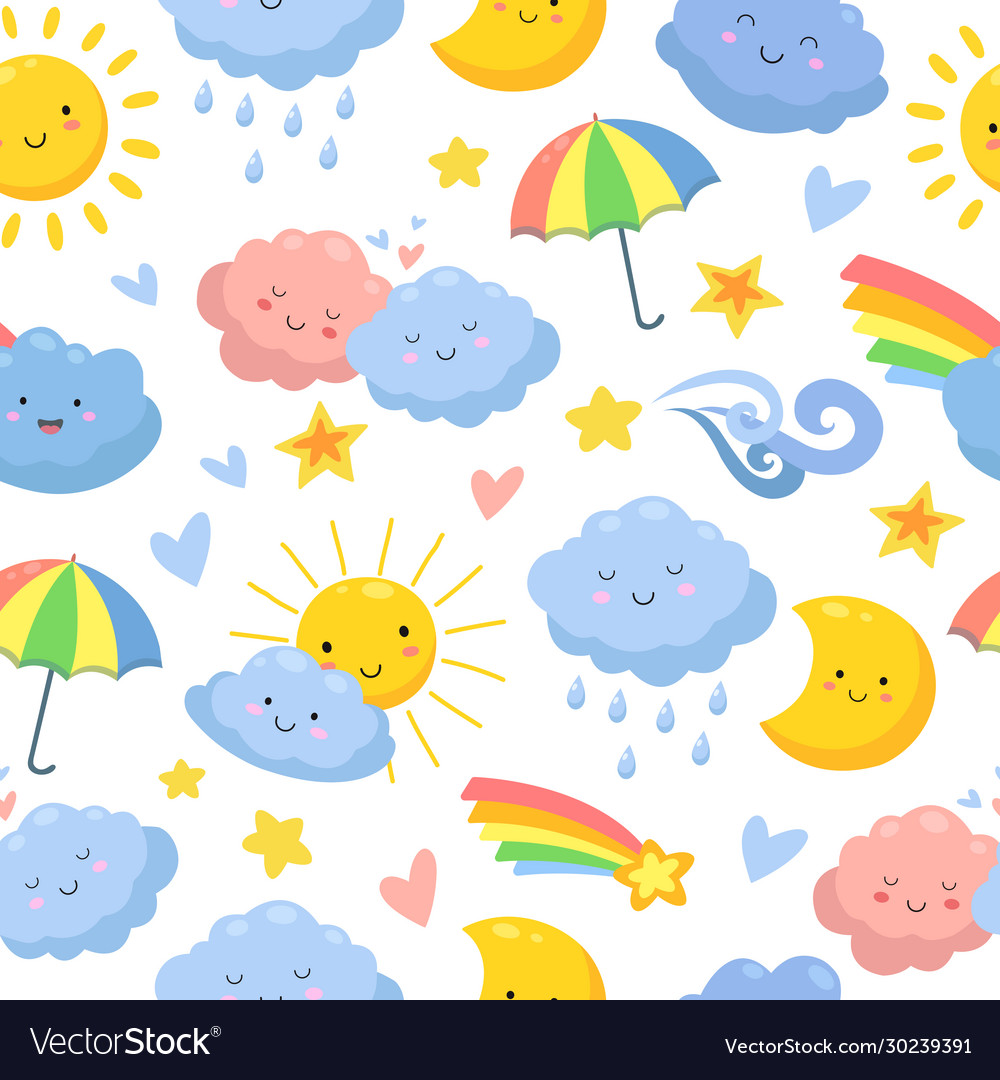 Cute clouds pattern sky backdrop dream and stars
